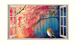 Nature Bird Blossom 3D 5mm Hardboard Living Room Decal Vinyl Wall Sticker