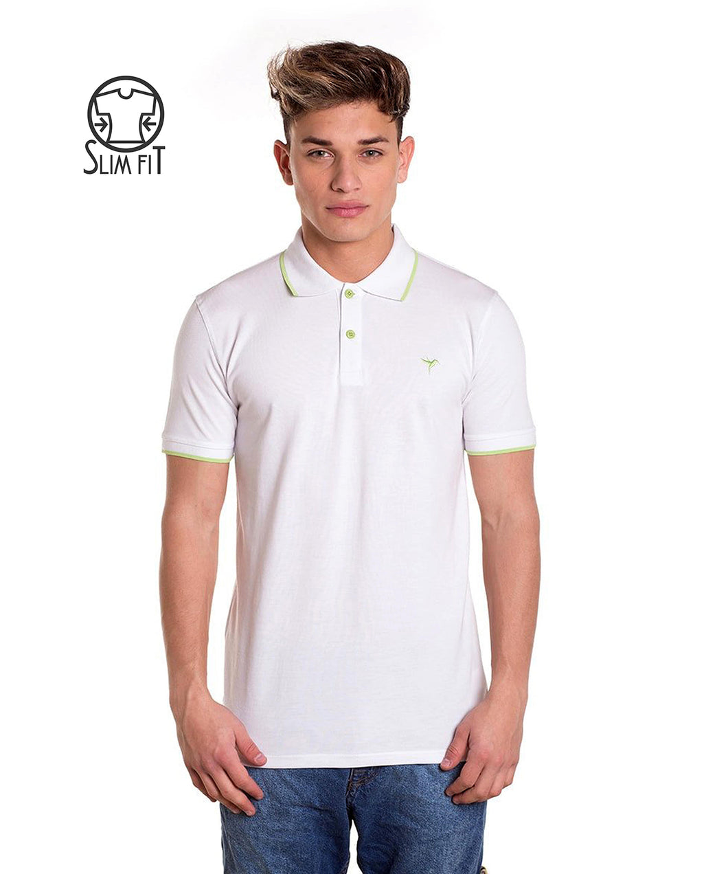 POLO BASIC WHITE & GREEN