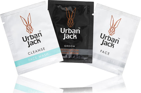 Urban Jack Face Wash, Revolution Shave Serum and Moisturiser Sample sachets.