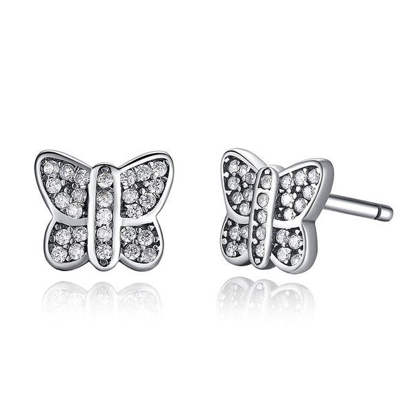 Butterfly Stud Earrings with Glittering Cubic Zirconia