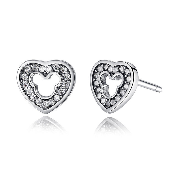 Silver Heart- & Mouse-Shaped Earrings with Cubic Zirconia Stones