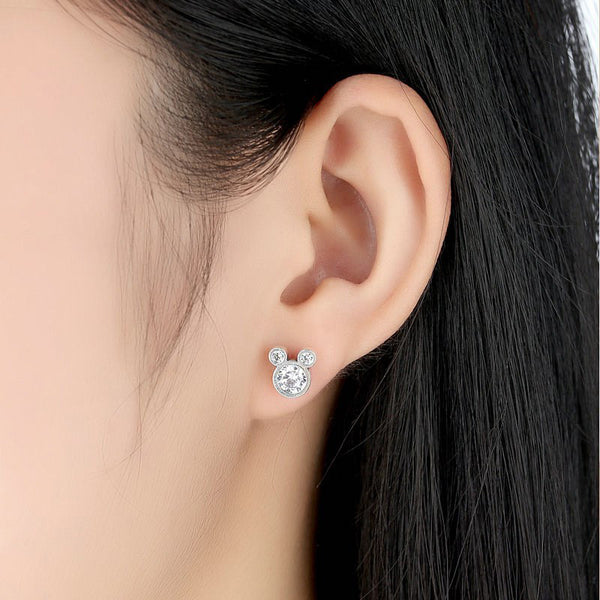 Mouse Stud Earrings 925 Sterling Silver Precious Cubic Zirconia