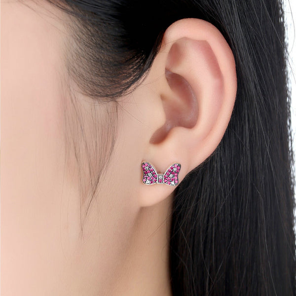 Cute Pink Bow Mouse Stud Earrings with Cubic Zirconia