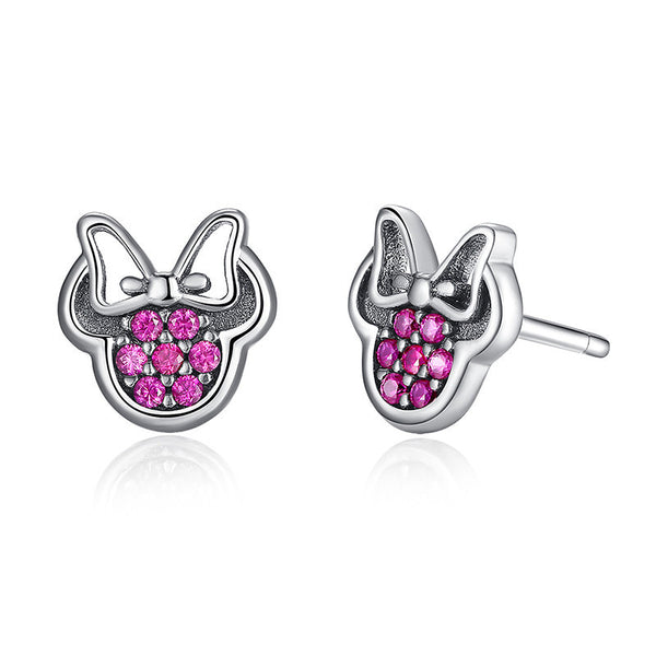 Silver Mouse Stud Earrings with Bow and Pink Cubic Zirconia Stones