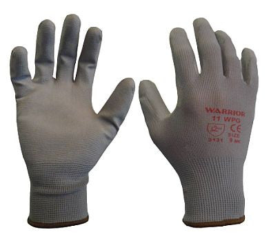 Warrior PU Coated Gloves - Grey (1 Pair)