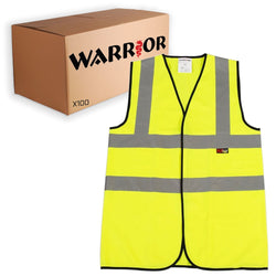 Hi Vis Safety Vest Waistcoat - Yellow (100 Piece Bulk Pack)