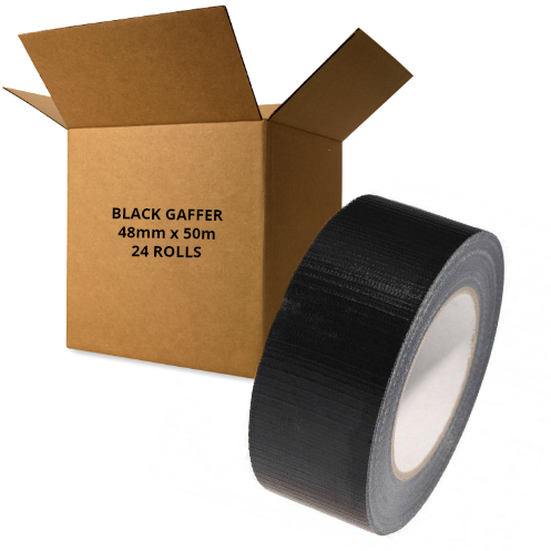 24 x Rolls (Box) Black Gaffer Tape (Duct / Cloth) 48mm x 50m