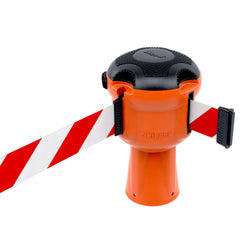 Skipper™ Retractable Barrier Orange Unit | 9m Red & White Tape
