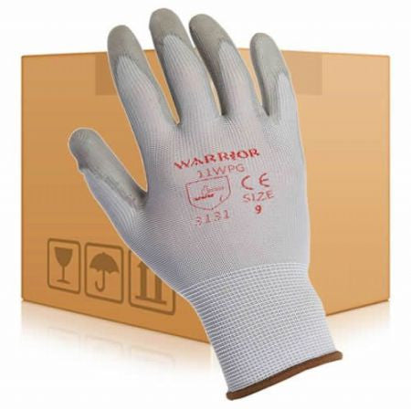 Warrior PU Coated Gloves - Grey (Box 240 Pairs)
