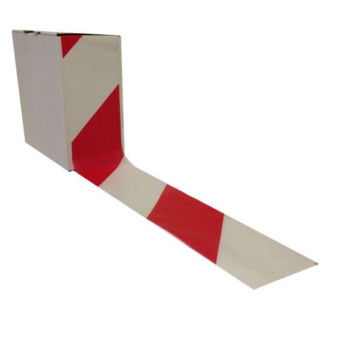 Barrier Tape Red & White (Non-Adhesive) Hazard Warning 72mm x 500m