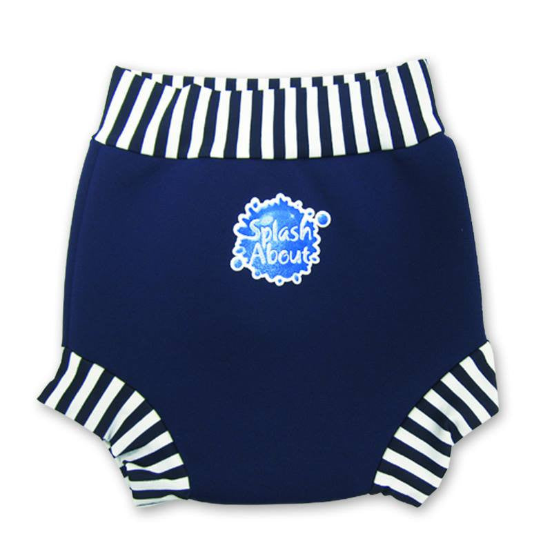 Splash About - Happy Nappy (Navy & White Stripe Rib)-Binky Boppy
