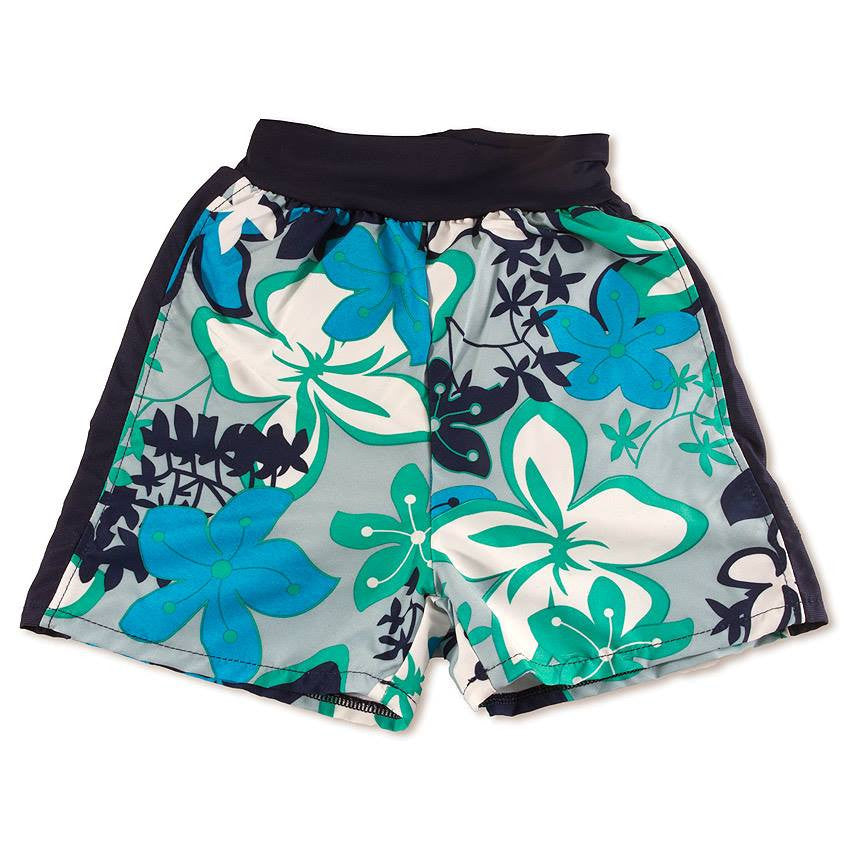 Splash About - Happy Nappy Board Shorts (Green Floral)-Binky Boppy