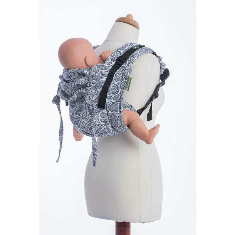 LennyLamb - Paisley Navy Blue & Cream Buckle Onbu-Binky Boppy