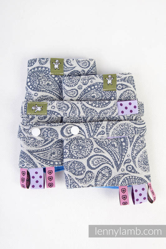 LennyLamb - Paisley Navy & Cream Drool Pads & Reach Straps Set-Binky Boppy