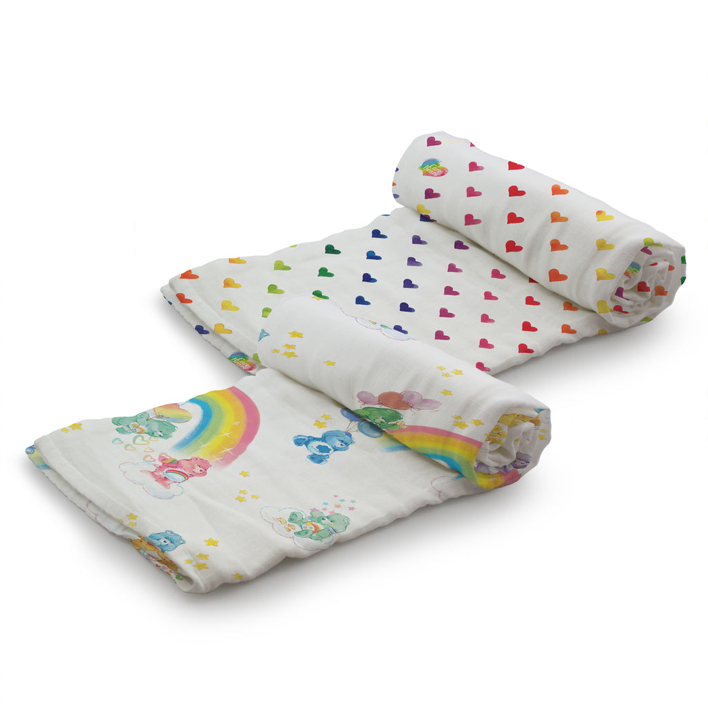 Kanga Care x Care Bears - Serene Swaddles (Watercolor Rainbow + Rainbow Hearts)-Binky Boppy
