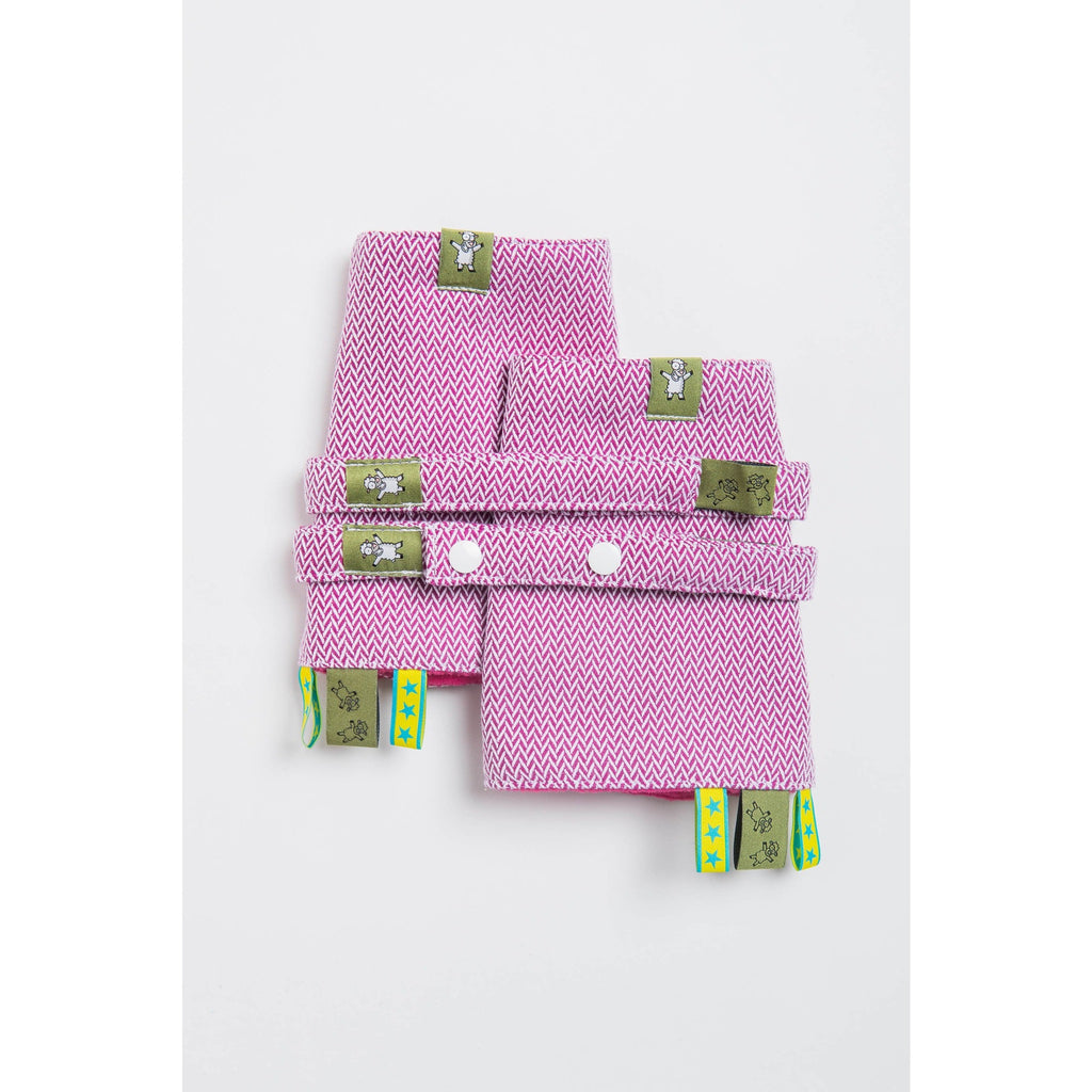 LennyLamb - Little Herringbone Purple Drool Pads & Reach Straps Set-Binky Boppy