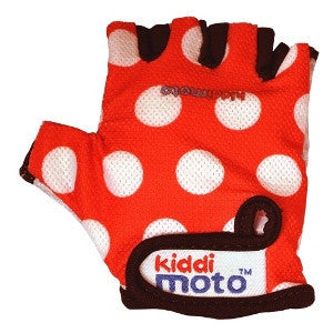 Kiddimoto - Red Dotty Gloves (Medium)-Binky Boppy