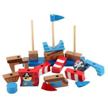 Stephen Joseph - Wooden Stacking Toys (Pirate)-Binky Boppy