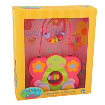 Stephen Joseph - Rolling Wire Bead Toy (Butterfly)-Binky Boppy