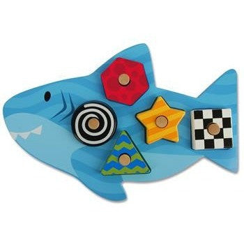 Stephen Joseph - Wooden Peg Puzzle (Shark)-Binky Boppy