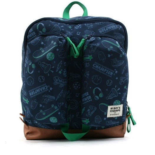 Winghouse - Wing Exciting Double Pocket Backpack (Navy)-Binky Boppy