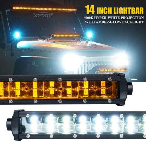 "Xprite Sunrise Series 14"" Double Row LED Light Bar with Amber Backlight"