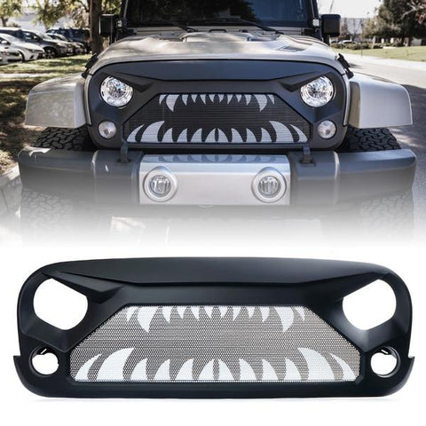 Xprite Gladiator Grille with Monster Teeth Steel Mesh for 2007-2018 Jeep Wrangler