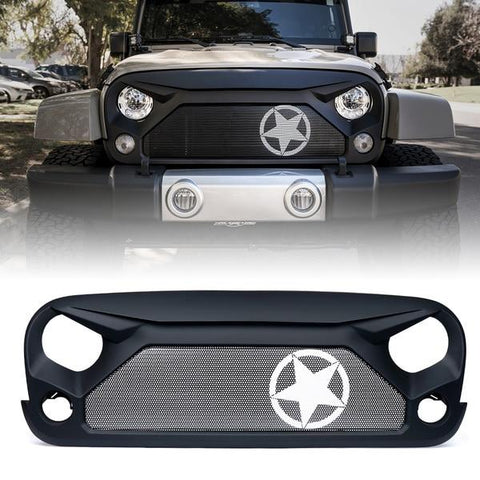 Xprite Gladiator Grille with Star Steel Mesh for 2007-2018 Jeep Wrangler JK
