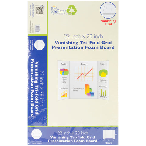 "Royal Brites Vanishing Grid Tri-Fold Foam Board 22""X28"""