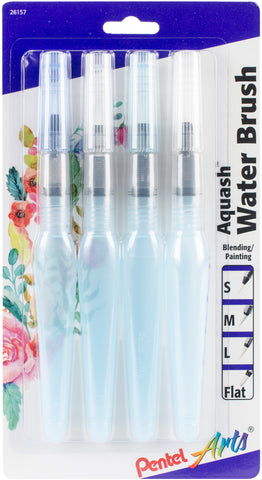 Pentel Arts Aquash Water Brushes 4/Pkg