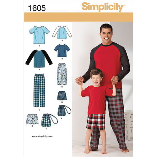 Simplicity Easy-To-Sew Boys Mens Loungewear Pants Bag & Top