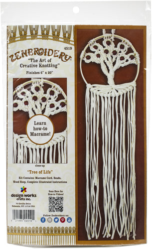 "Design Works/Zenbroidery Macrame Wall Hanging Kit 6""X20"""