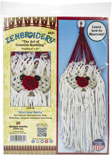 "Design Works/Zenbroidery Macrame Wall Hanging Kit 6""X18"""