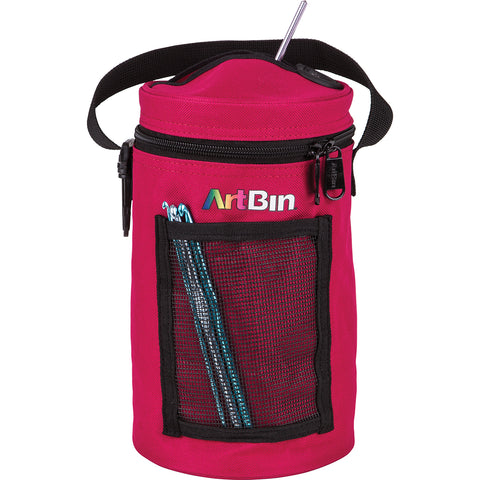 ArtBin Mini Yarn Drum Knitting & Crocheting Tote Bag-Raspberry, 6831AG