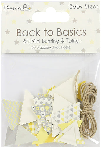 Dovecraft Back To Basics Mini Bunting & Twine 60/Pkg