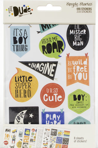 "Lil' Dude Stickers 4""X6"" 8/Pkg"