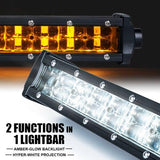 "Xprite Sunrise Series 42"" Double Row LED Light Bar with Amber Backlight"