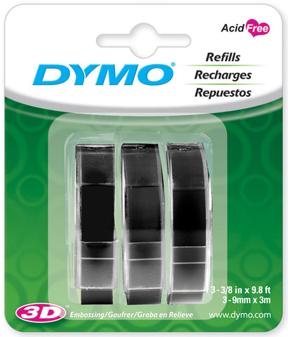 "Dymo Caption Maker Tape Refill 3/8""X9.8 Feet 3/Pkg"