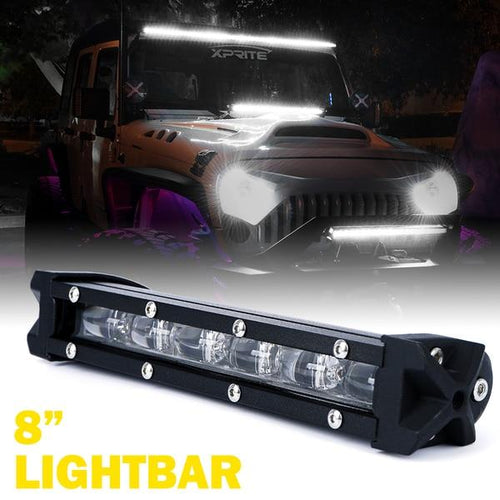 "Xprite 8"" 30W Ultra Thin Astro Series Flood Beam CREE LED Light Bar"