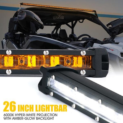 "Xprite Sunrise Series 26"" Single Row 120W LED Light Bar with Amber Backlight"