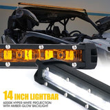"Xprite Sunrise Series 14"" Single Row 60W LED Light Bar with Amber Backlight"