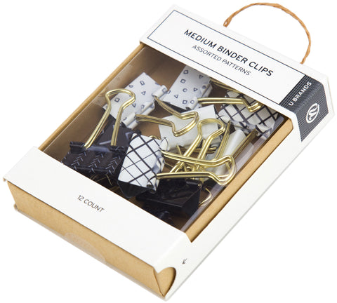 Medium Binder Clips Black & White With Gold Prongs