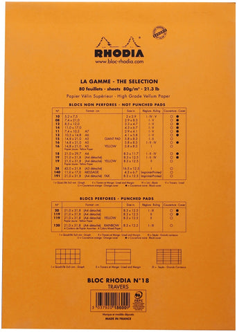 "Rhodia Lined Pad W/Margin 8.25""X11.75"""