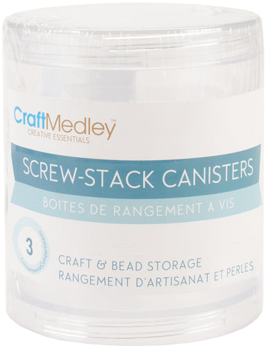 "Bead Storage Screw-Stack Canisters 2.75""X1"" 3/Pkg"