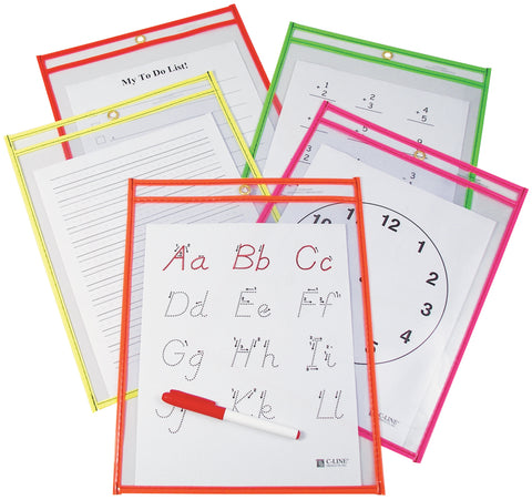 "Reusable Dry Erase Pockets 9""X12"" 10/Pkg"