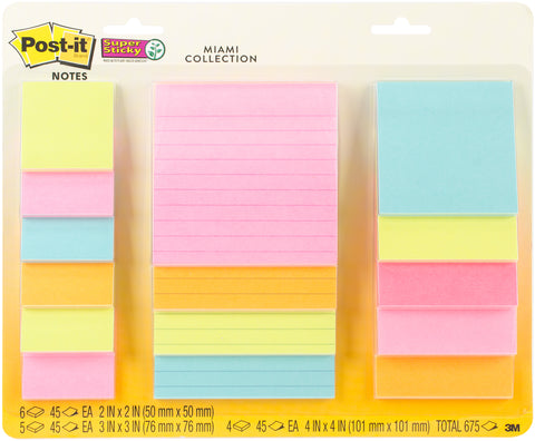 Post-It Super Sticky Notes Assorted Sizes 15/Pkg