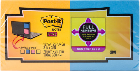 "Post-It Super Sticky Full Adhesive Notes 3""X3"" 12/Pkg"