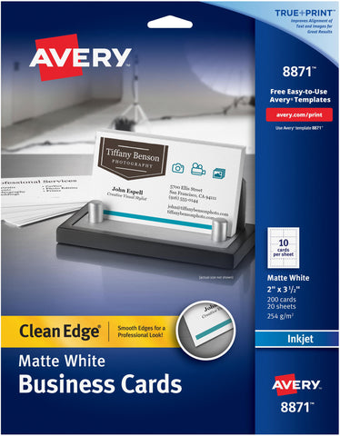 "Avery Matte White Clean Edge Business Cards 2""X3.5"" 200/Pkg"