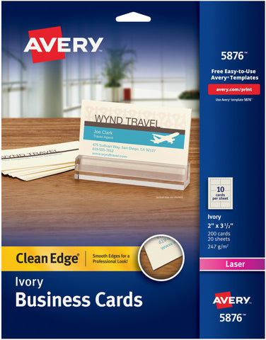 "Avery Ivory Clean Edge Business Cards 2""X3.5"" 200/Pkg"
