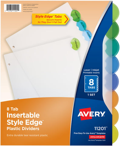 Avery Insertable Style Edge Plastic Dividers